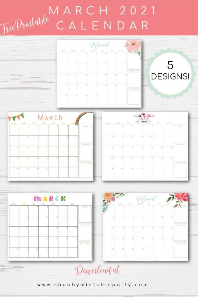 Free Printables March 2021 calendar 5 designs