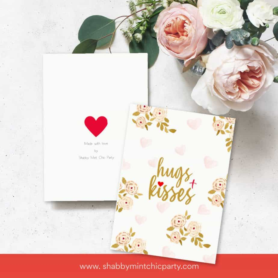 Hugs and Kisses Valentine's Day card front and back of card