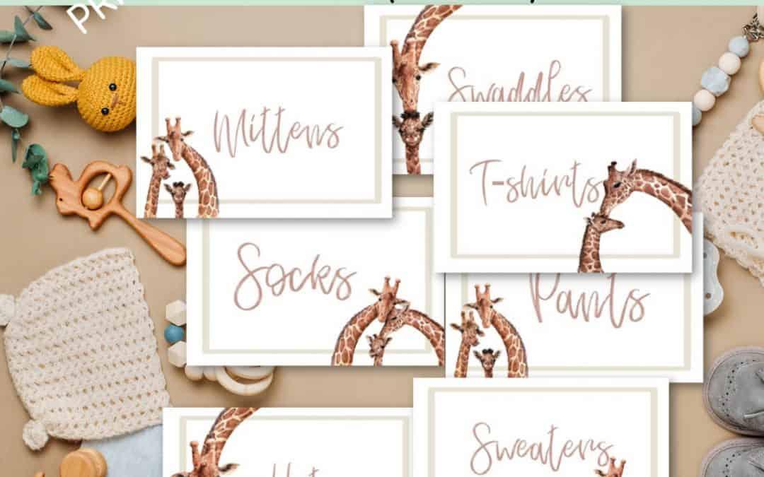 Giraffe family baby drawer labels