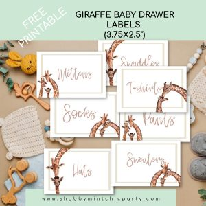 Giraffe family baby drawer labels
