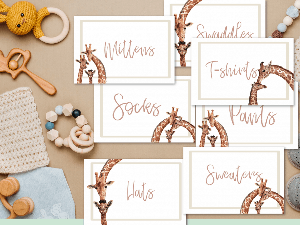 drawer labels free printable giraffes