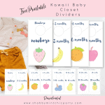 Free Printable: Fun Kawaii fruits baby closet dividers