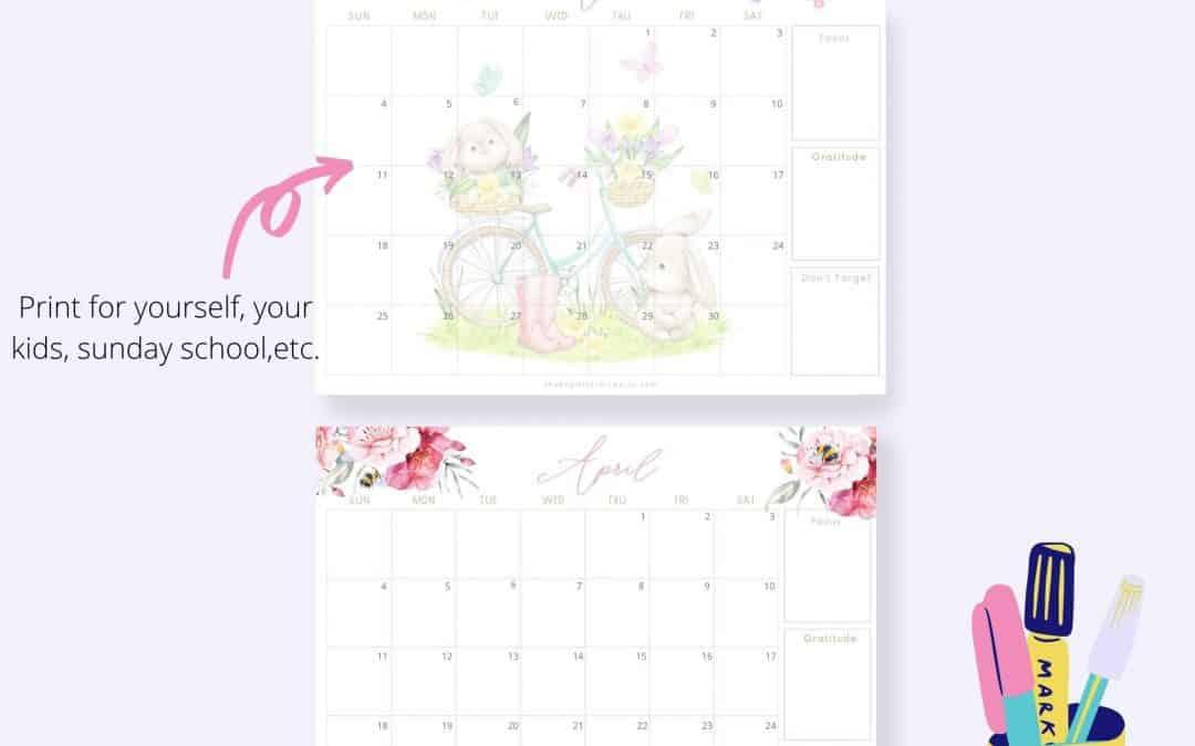 april 2021 printable calendar freebie