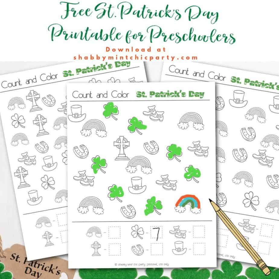 St. Patrick's Day count and color free pages