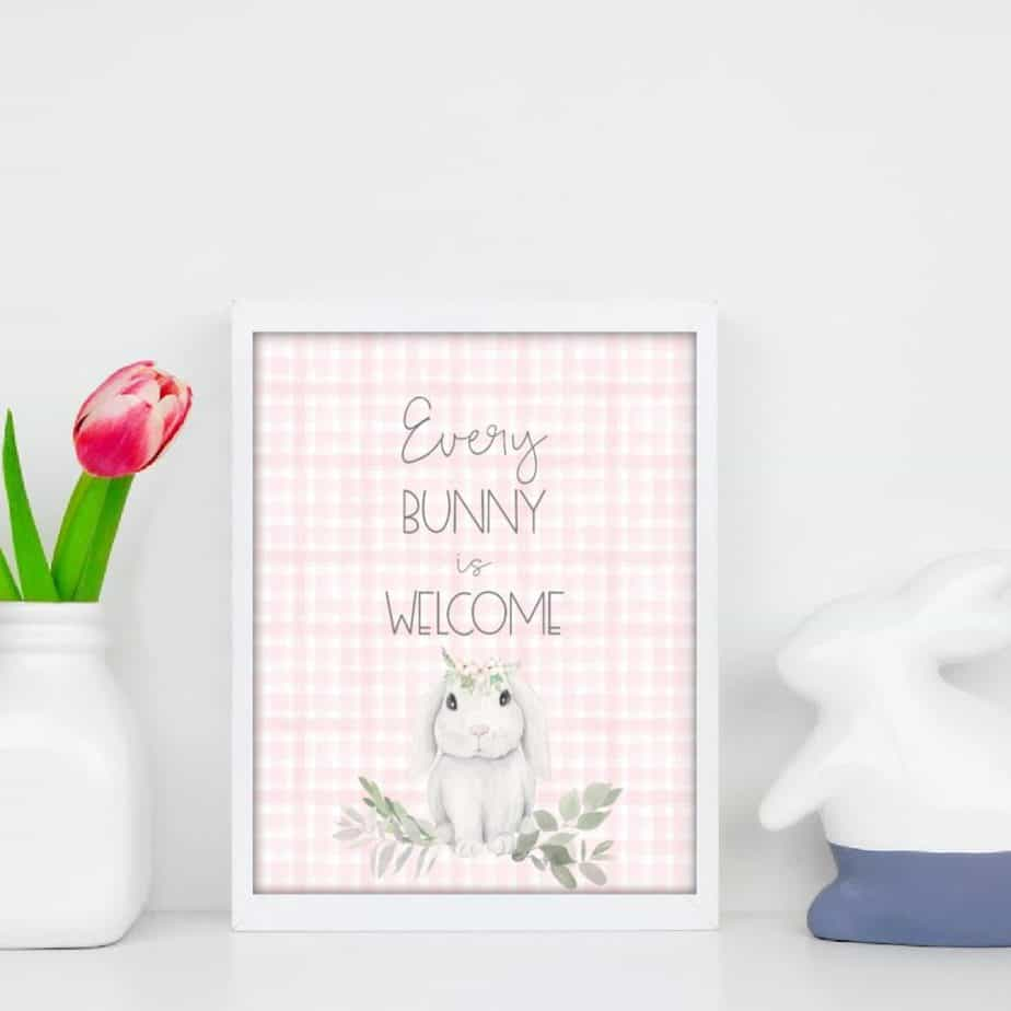 Spring Easter Bunny freebie printable wall art