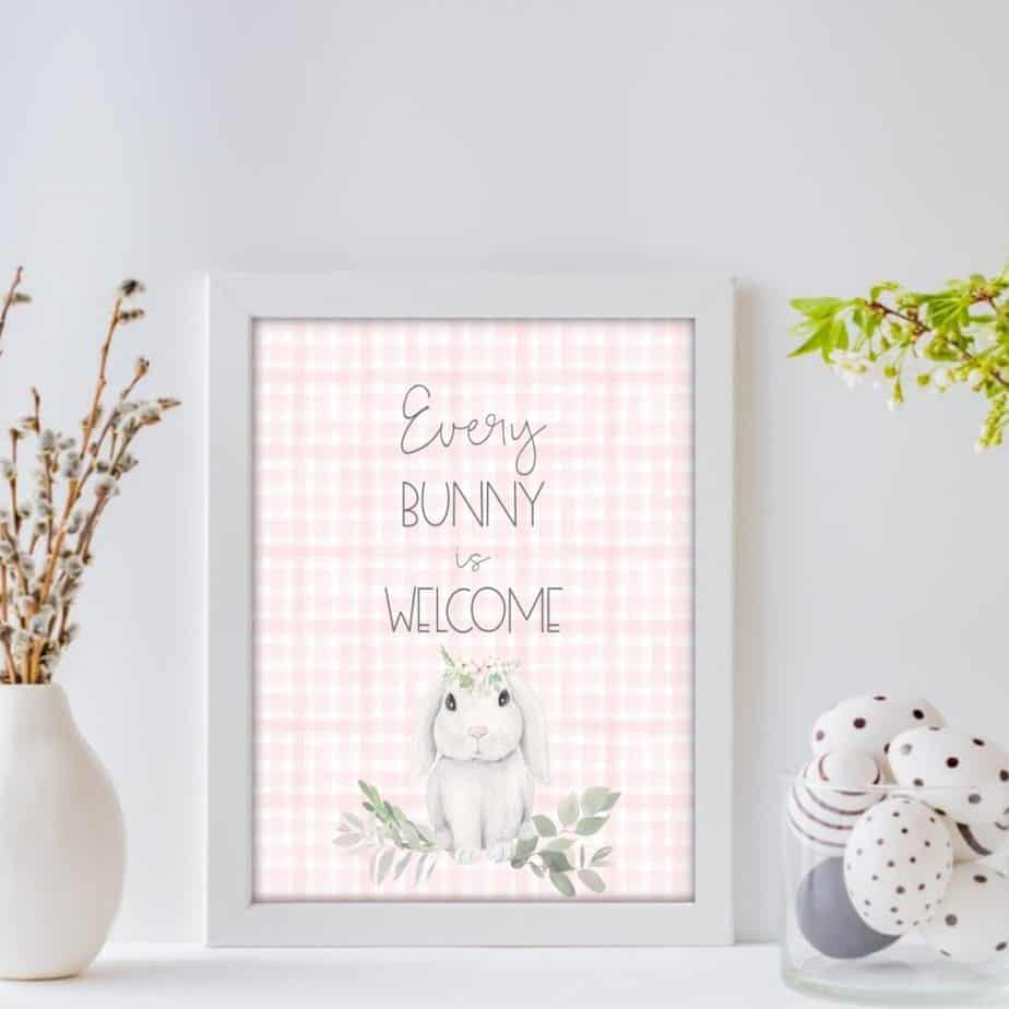 every bunny is welcome wall art printable