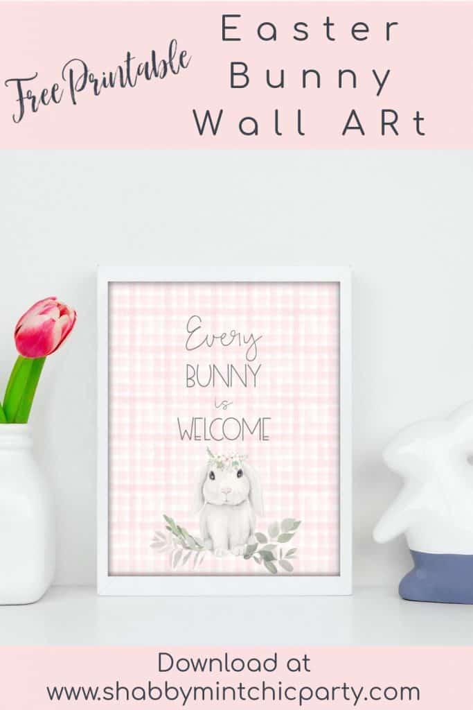 Easter Bunny wall art free printable