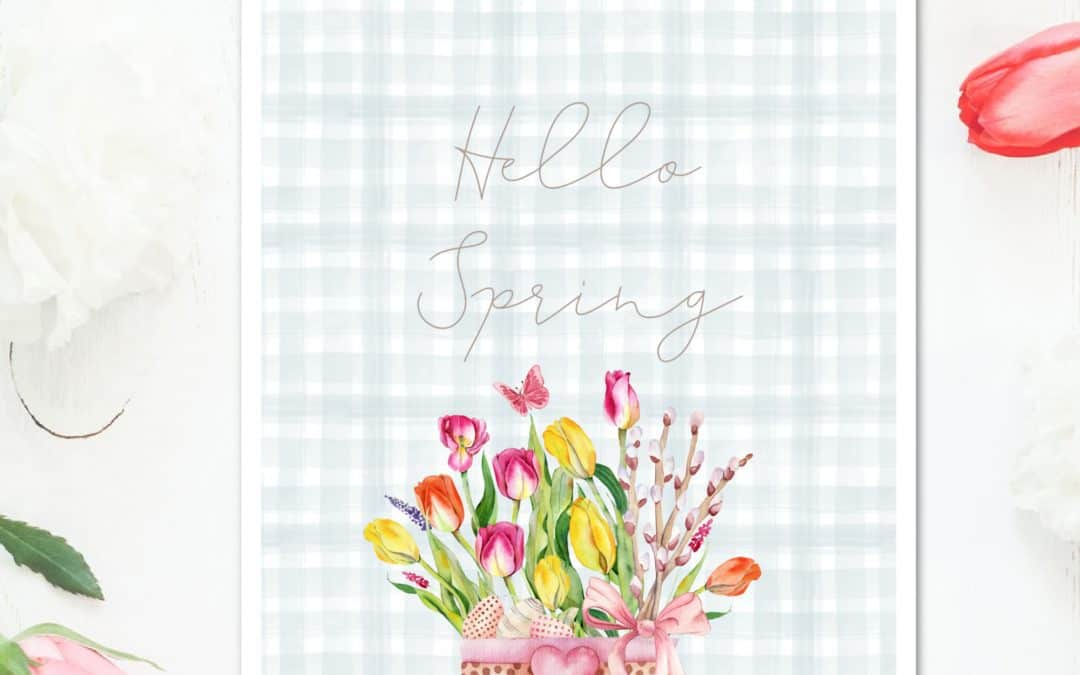 Spring printable tulips and other flowers in bucket with words Hello Spring