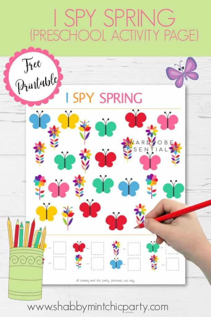 Free printable I spy spring butterflies and flowers