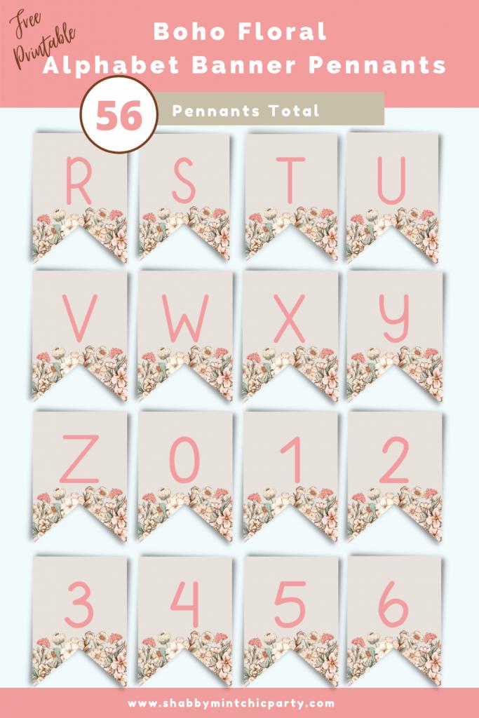 Boho Floral Alphabet banner pennants r-number6 freebie