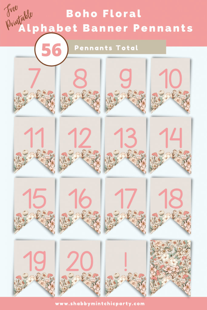 Boho Floral Alphabet banner pennants numbers7-exclamation