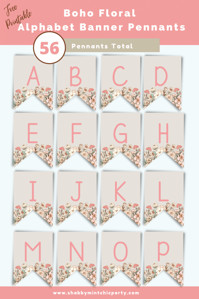 Boho Floral Alphabet banner pennants a-p