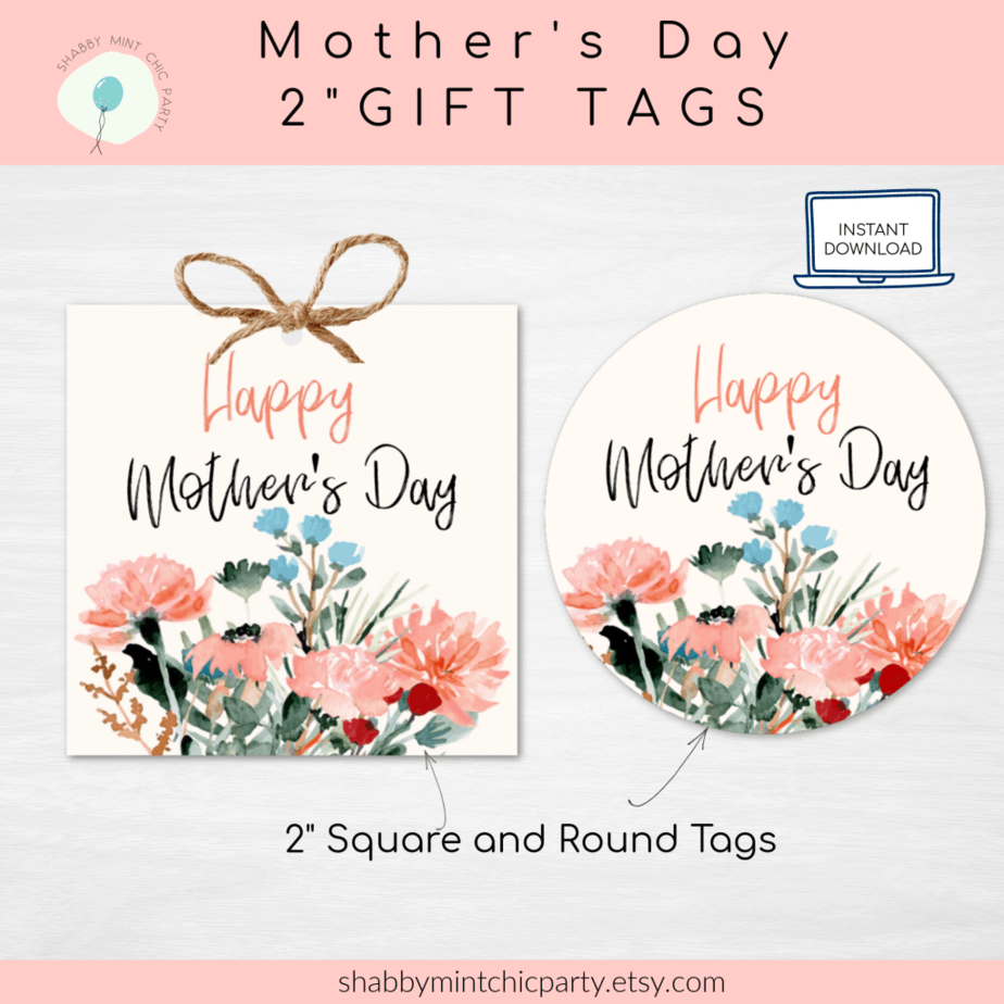 Mother's Day floral gift tags free printable round and square