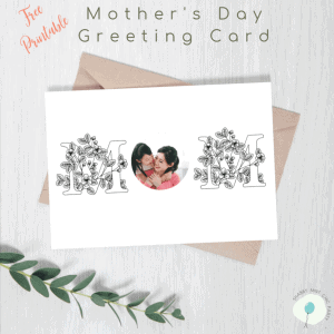 Editable photo Mother's Day card on top of envelope