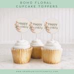 FREE PRINTABLE BOHO FLORAL CUPCAKE TOPPERS