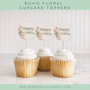 """boho floral cupcake toppers with the words """"happy birthday"""" free printable"""
