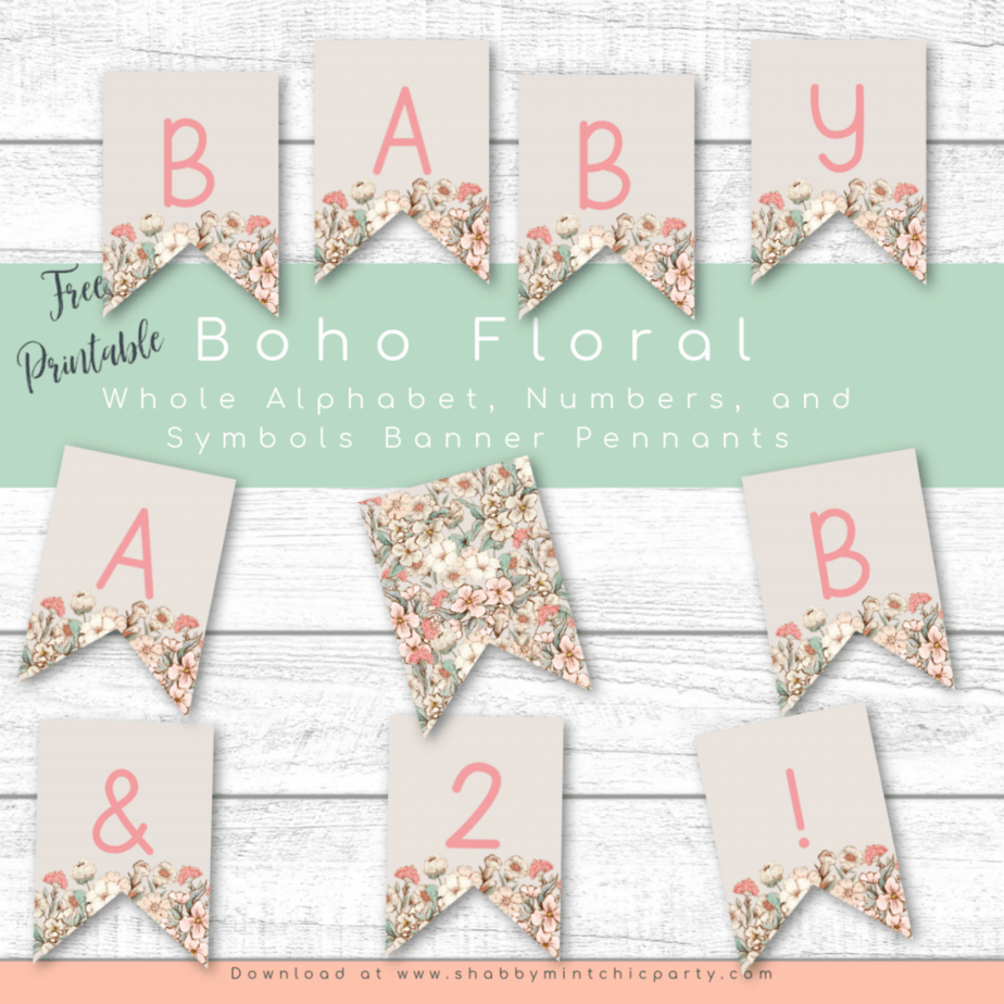 Boho floral alphabet, numbers banner pennants