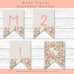 Free Printable Boho Floral Alphabet Banner Pennants