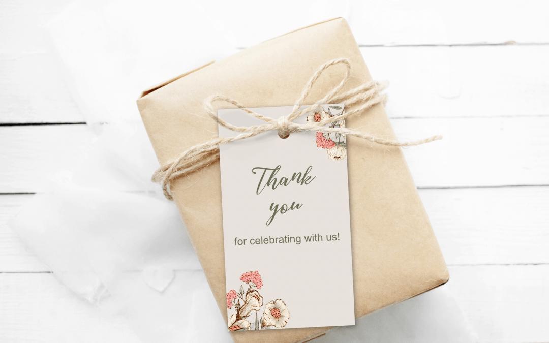 boho gift tag on gift box freebie