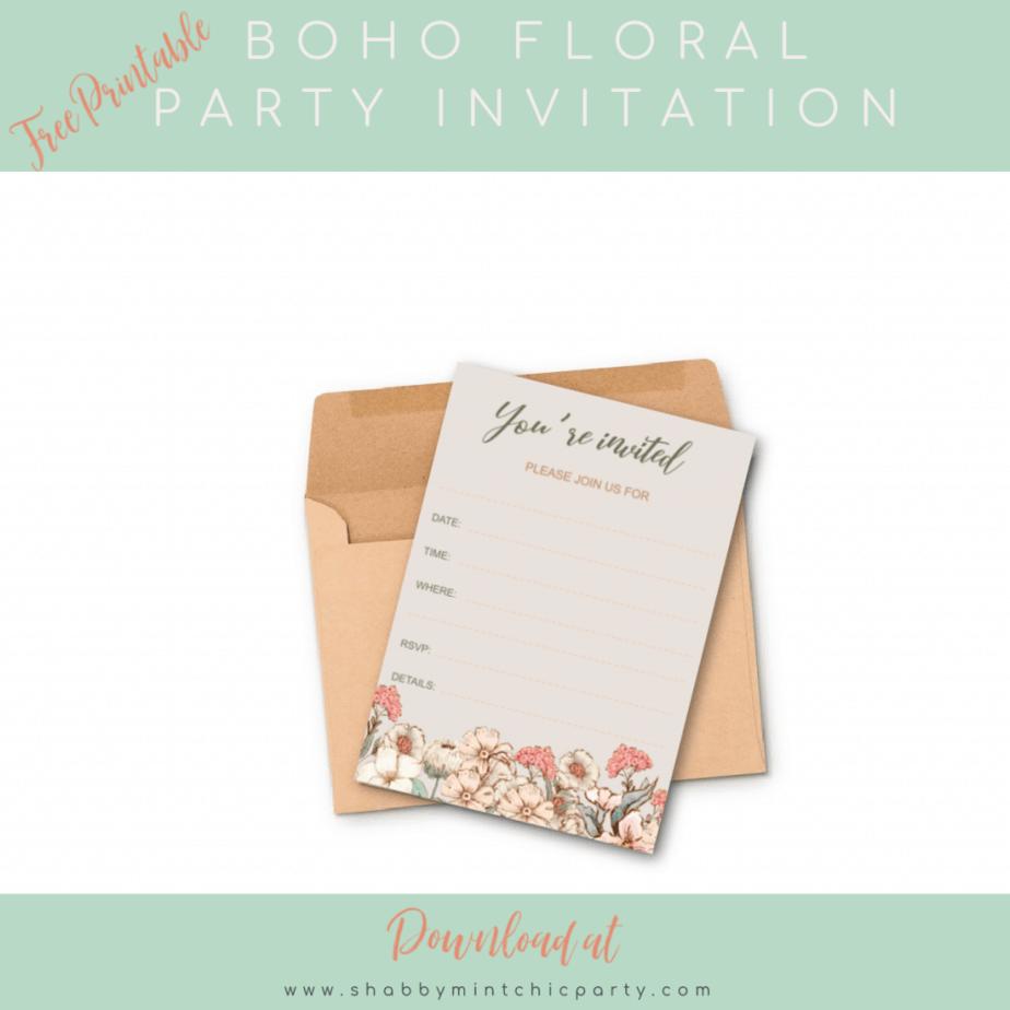 boho floral invitation  fill-in free printable