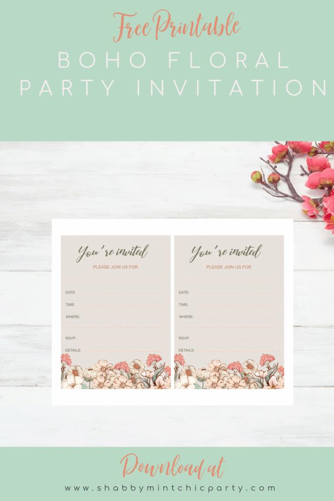 free printable fill in boho floral invitation