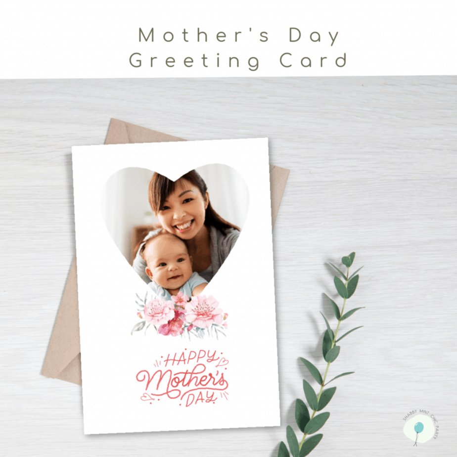 mother's day photo card heart shape with flowers and the words Happy mother's day