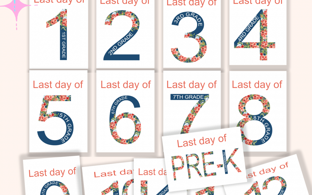 Floral blue last day of sale signs free printable