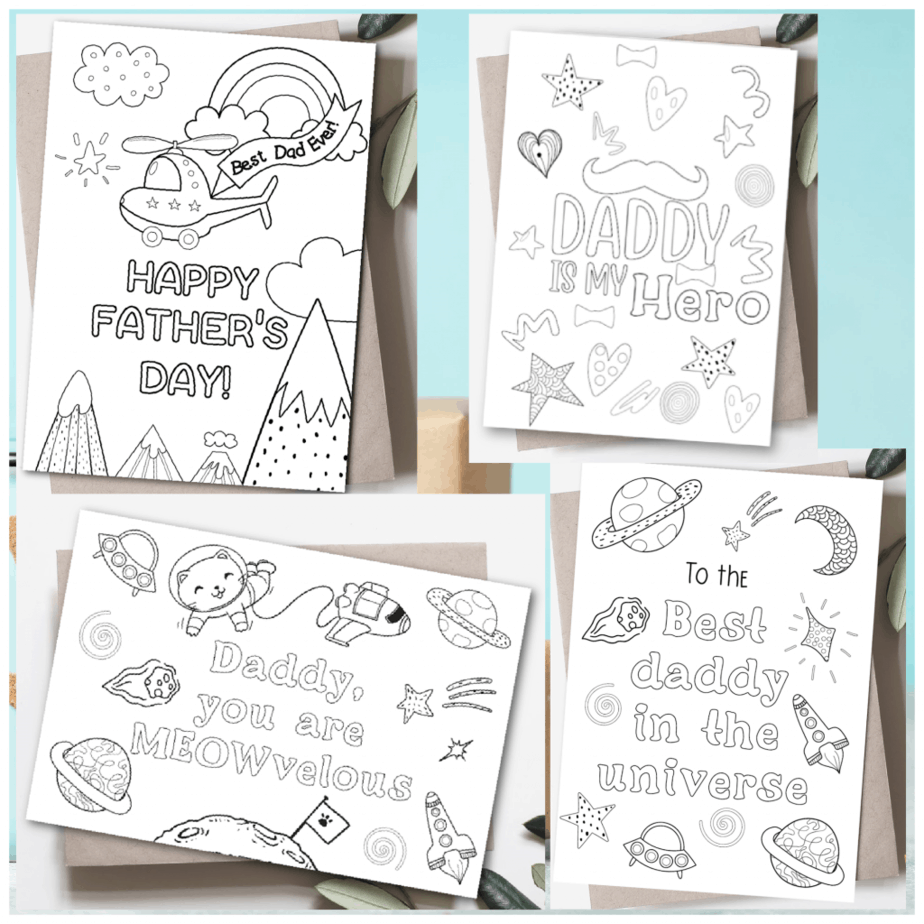 Father's Day coloring cards  on etsy