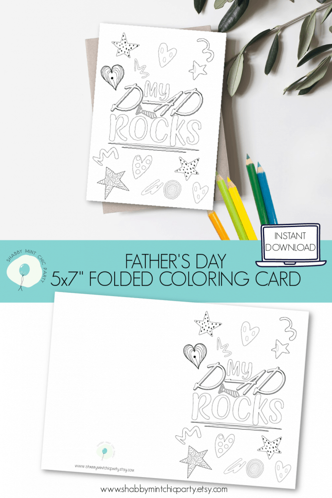 Father's day coloring card daddy rocks front and back