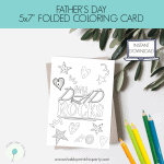 Free Father's Day Coloring Card for Preschoolers