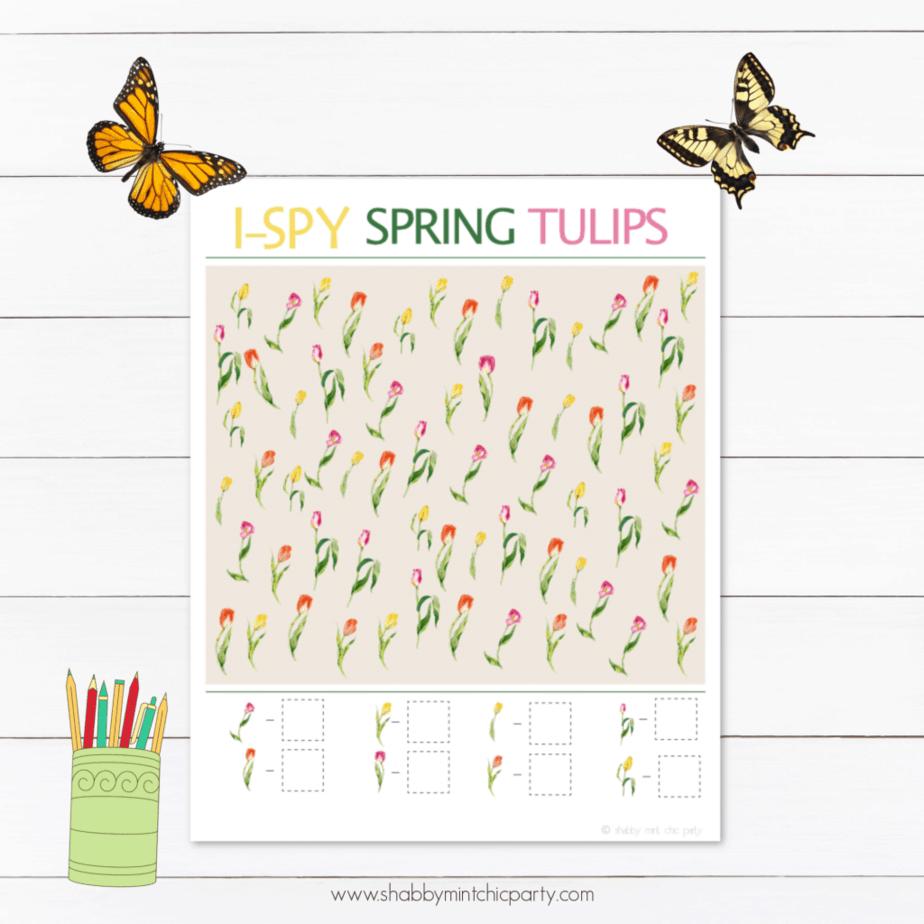 printable spring tulip i spy game freebie