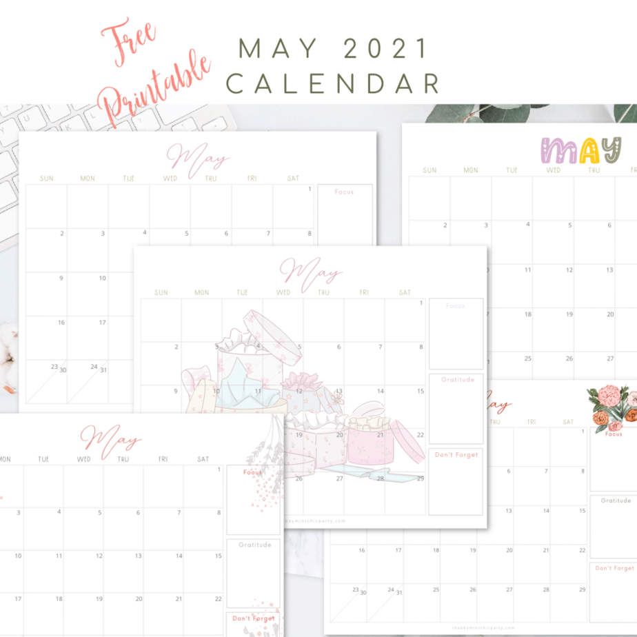 May Printable calendar 2021 freebie