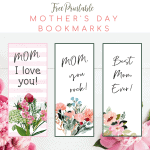 Free Printable Floral Mother's Day bookmarks