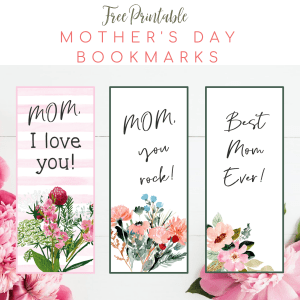 free printable mother's day bookmarks floral theme