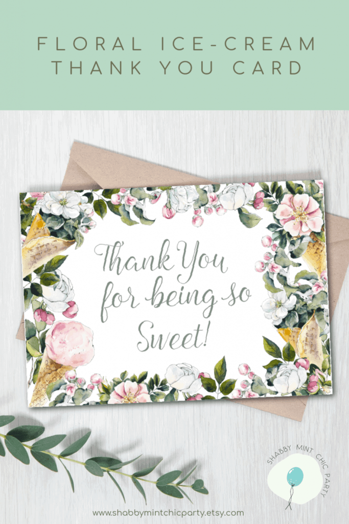 ice-cream floral thank you card