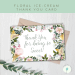 Free Printable Foldable Floral Thank You Card