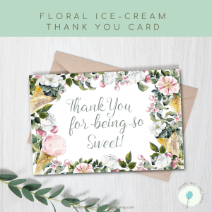 thank you card ice cream floral