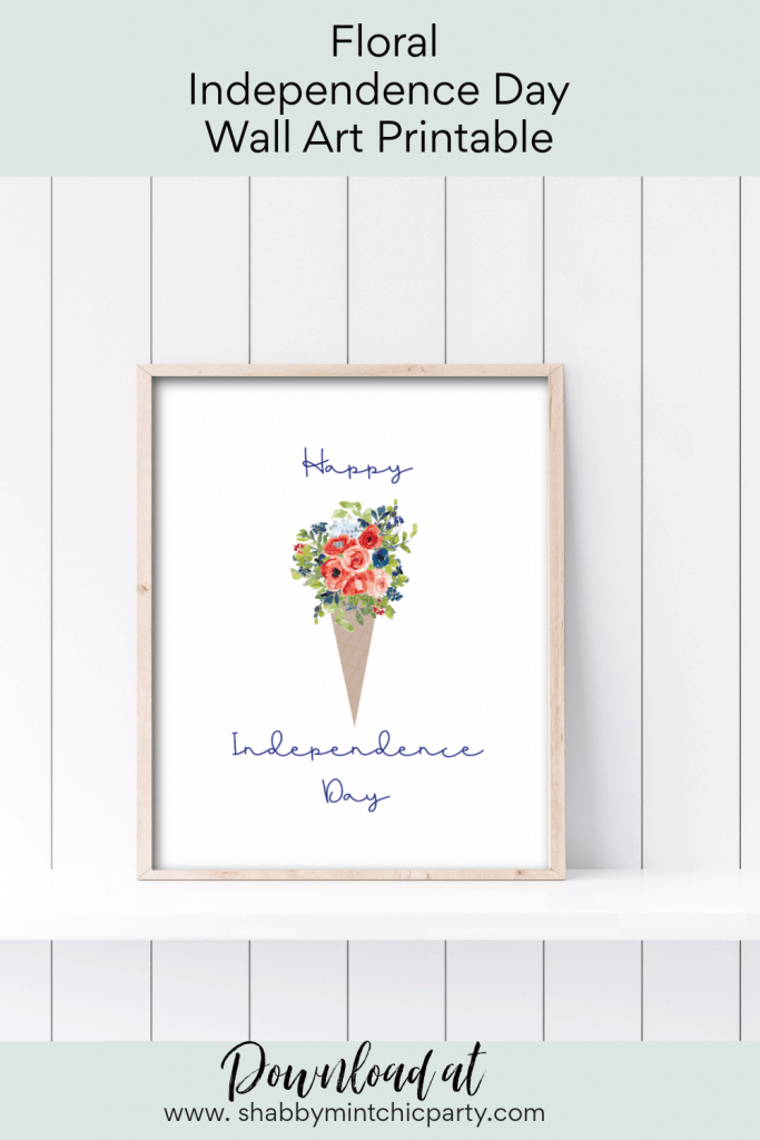 Printable wall art for 4th of July cone with red white and blue flowers