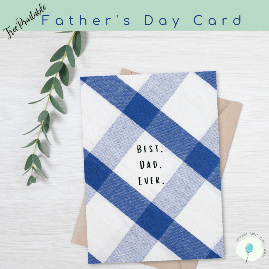 Father's DAy foldable card free printable blue and white colors