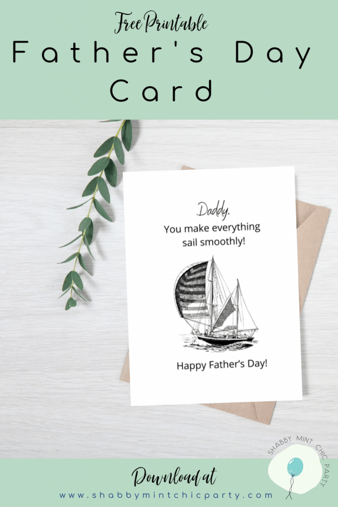 Father's Day card free printable sailboat theme