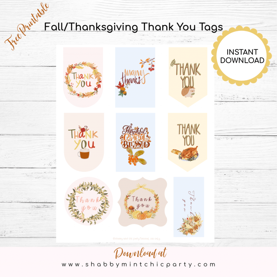 Fall thanksgiving gift tags in different sizes exclusive freebies