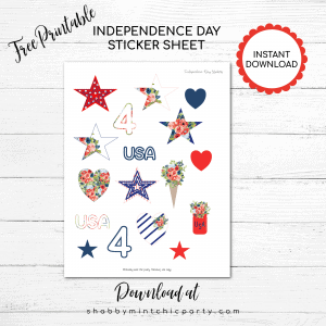 independence day sticker sheet with stars, heart, and jar in red white and blue