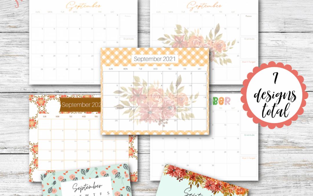 September 2021 calendar printable freebie