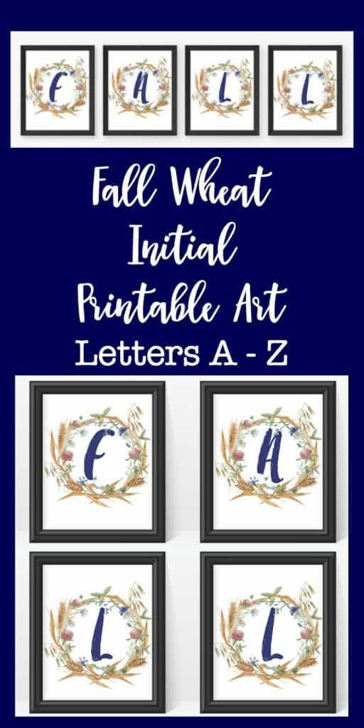 fall initial printable monogram