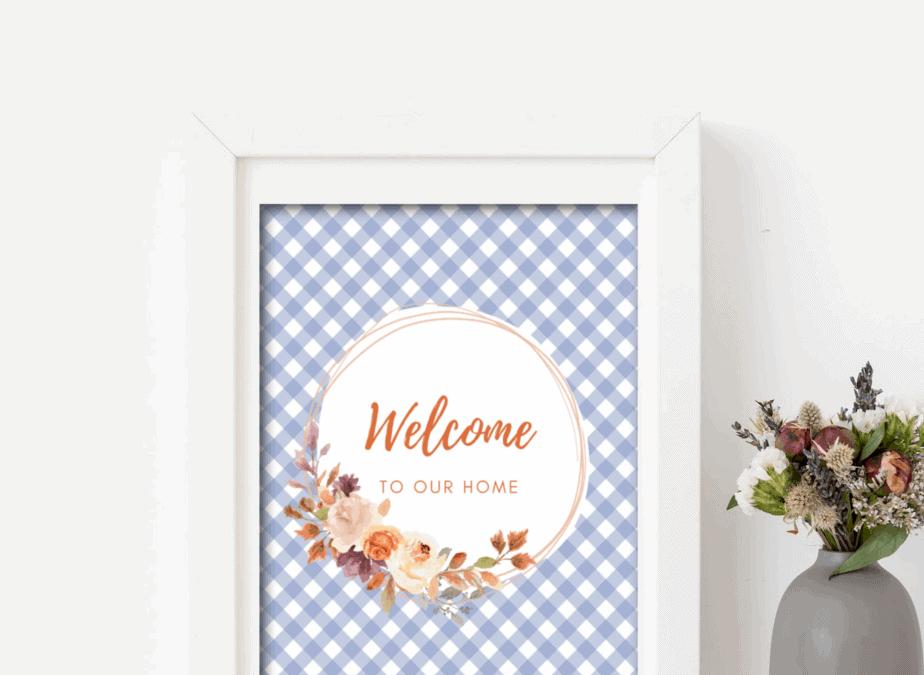 free printable fall bluish gingham wreath