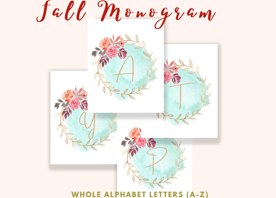 fall monogram free printable letters from a-z