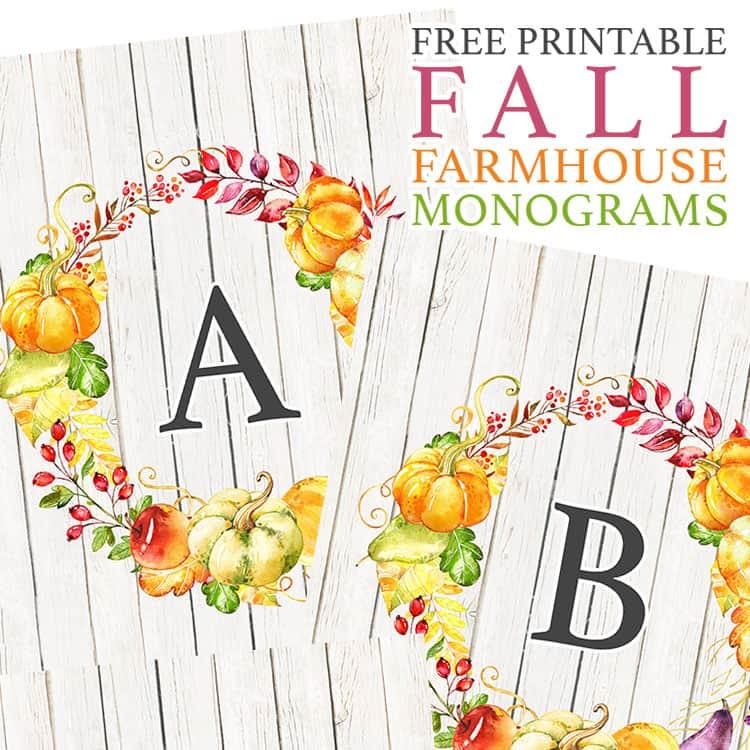 farmhouse printable monograms