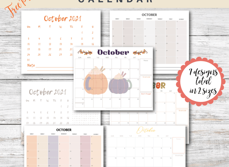 free monthly calendar october 2021 7 designs