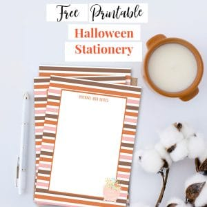 free printable halloween stationery with stripes and cauldron